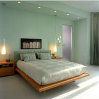 Уютный интерьер спальни в мятных оттенках