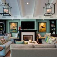 Стены мятного цвета в современной гостиной