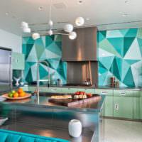 Оттенки мятного на кухне в стиле модерн