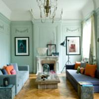 Мятный цвет в классическом стиле гостиной