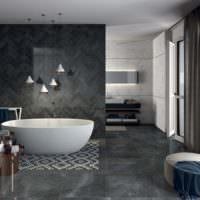 Зонирование ванной с помощью мозаики на полу