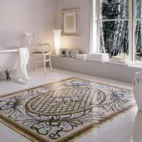 Ковер из мозаики в интерьере ванной
