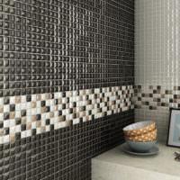Облицовка стены мозаикой на сетке
