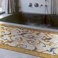 Мозаика в отделке полу ванной комнаты