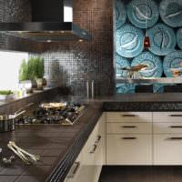 Мозаика в декоре кухни темных тонов