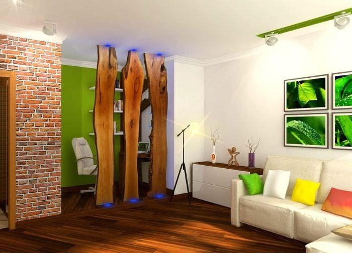 Красивый интерьер гостиной комнаты в эко стиле
