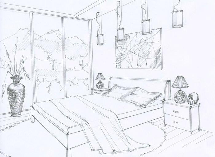 Дизайн будущей спальни, нарисованный своими руками на бумаге