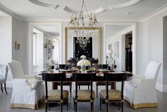 Дизайн помещения гостиной в современном классическом стиле