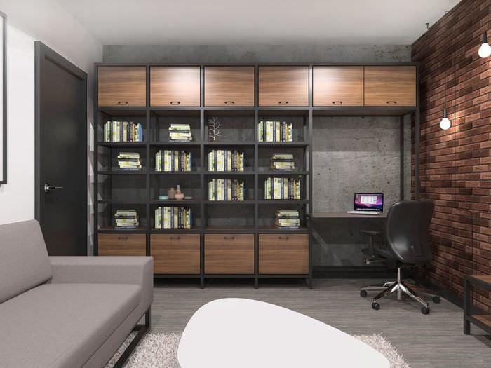 Книжный шкаф в дизайне однокомнатной квартиры в панельном доме серии п44т