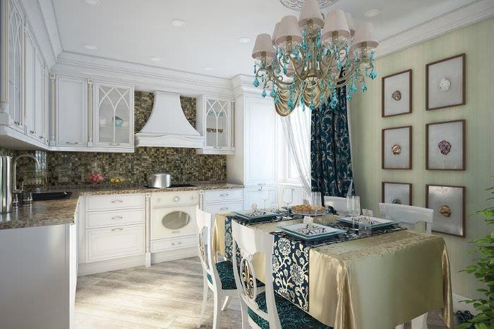 Контрастной сочетание отделки и текстиля на кухне