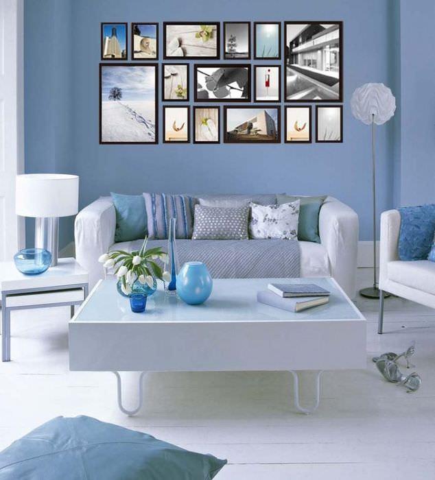 Оформление гостиной в голубых тонах своими руками