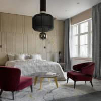 Оригинальной светильник в интерьере спальни-гостиной