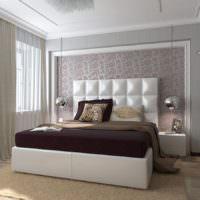 Оформление молдингами стены над изголовьем кровати
