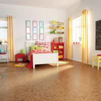 Детская спальня с пробковым покрытием на полу
