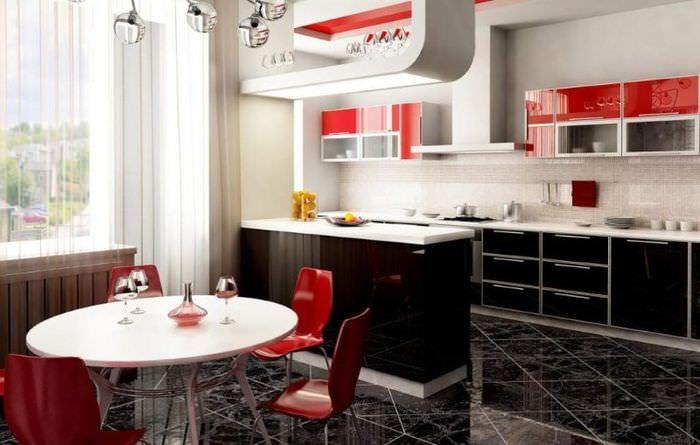 Интерьер кухни-гостиной в красно-черном цвете