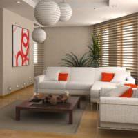Гостиная в стиле минимализма с ламинатным покрытием