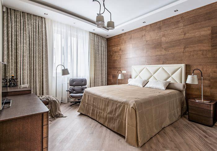 Использование дерева в интерьере спальной комнаты