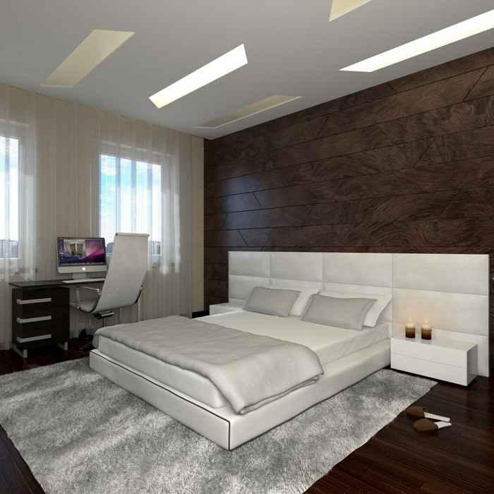 Темно-коричневый ламинат в спальной комнате