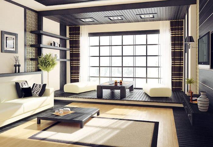 Ламинат светлого оттенка на полу гостиной в японском стиле