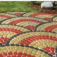 Красивый орнамент мощеной садовой дорожки