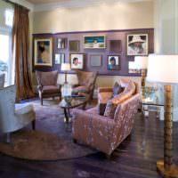 Оттенки лаванды в убранстве гостиной