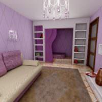 Интерьер гостиной в нежно-фиолетовом цвете