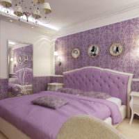 Сиреневые оттенки в оформлении спальной комнаты