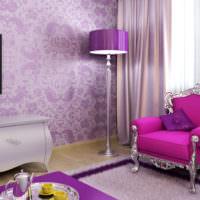 Оттенки лавандового и сиреневого цветов в интерьере комнаты