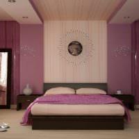 Сиреневые стены в спальне молодой семьи