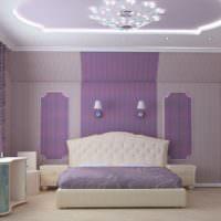 Оформление спальни в цвете лаванды