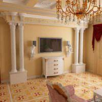 Дизайн гостиной с элементами гипсовой лепнины