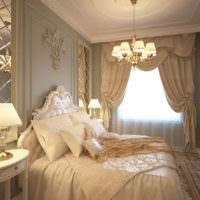 Лепные украшения в интерьере бежевой спальни