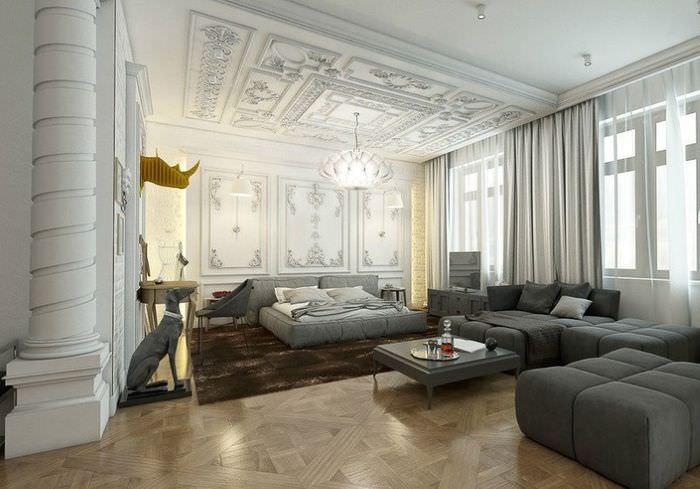 Лепнина в интерьере современной гостиной