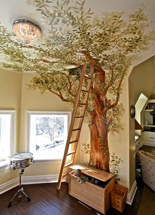 Оригинальная детская комната с лестницей на чердак