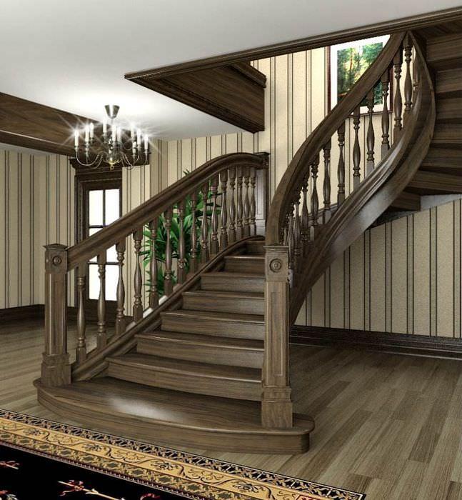 Лестница из дерева на второй этаж частного дома
