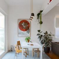Зонирование кухни с помощью линолеума