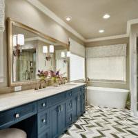 Линолеум в ёлочку в интерьере ванной комнаты