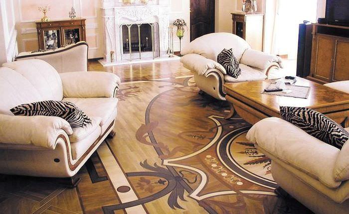 Линолеум с восточными узорами и завитушками в гостиной классического стиля