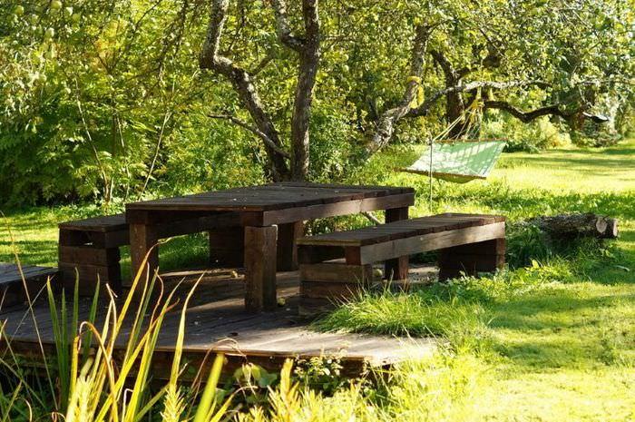 Площадка для отдыха в тени садовых деревьев