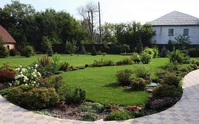 Оформление миксбордера на газоне садового участка