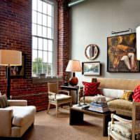 Оформление стены гостиной под красно-коричневый кирпич