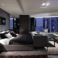 Темные цвета в дизайне супружеской спальни