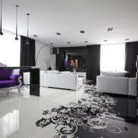 Черно-белый дизайн гостиной в частном доме