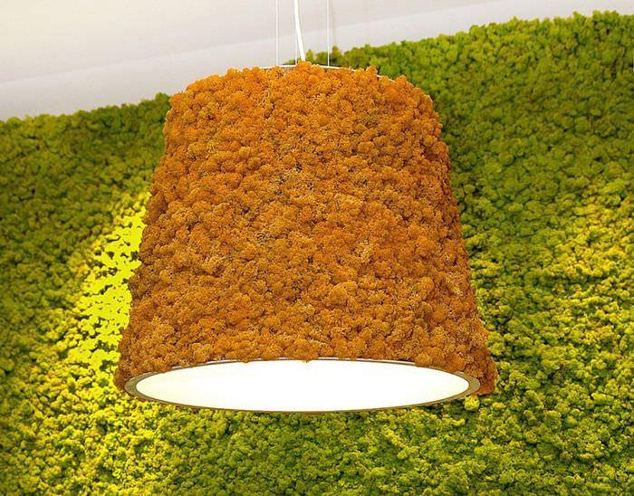 Декорирование светильника стабилизированным мхом