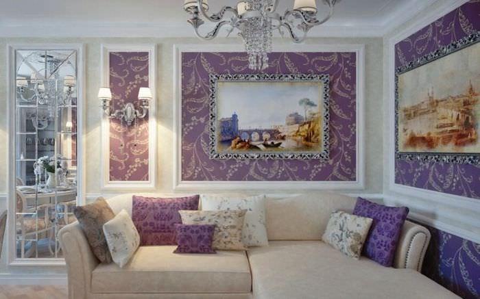 Отделка стен в комнате неоклассического стиля