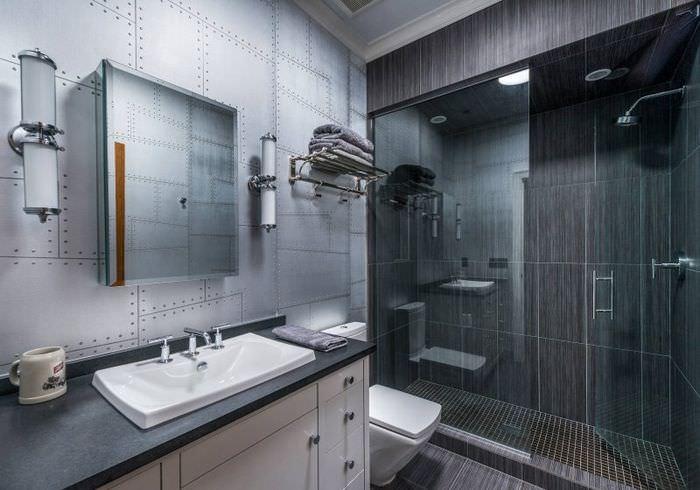 Серые тона интерьера ванной в стиле хай-тек