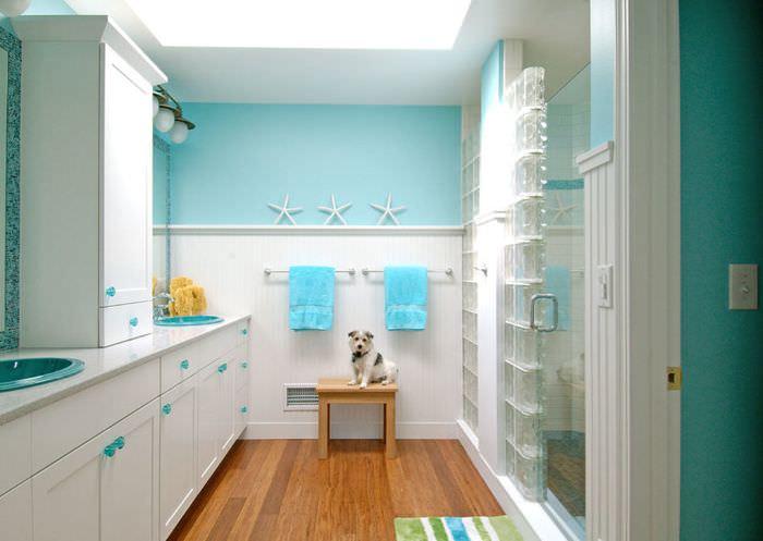 Мятный цвет в оформлении ванной комнаты