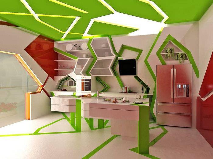 Интерьер кухни в удивительном стиле с геометрическими элементами