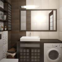 Белый и коричневый цвета в интерьере ванной
