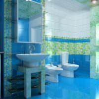 Обилие голубого цвета в интерьере ванной